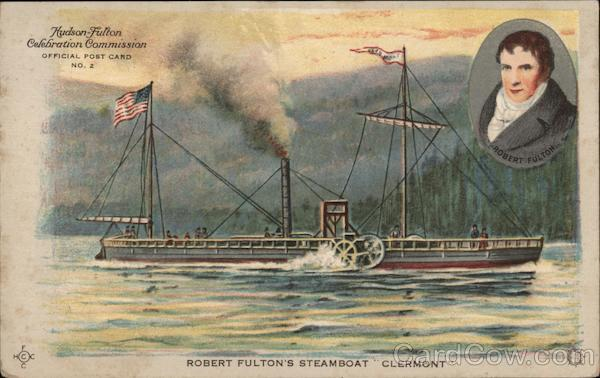 Robert Fulton's Steamboat Clermont -- Hudson-Fulton Official Post Card No. 2