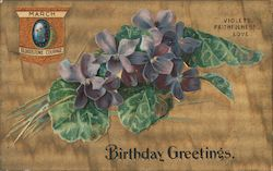 March Birthday Greetings - Violets, Faithfulness, Love