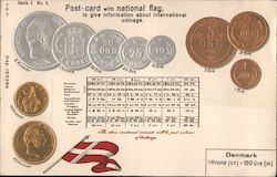 Embossed Post-card with national flag and coins