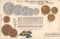 Postcard With National Flag and Coinage: Sweden and Norway