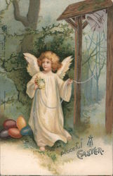 Peaceful Easter -- Angel with Eggs Rings Bell