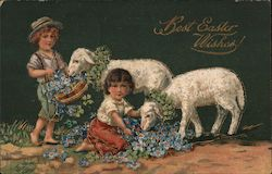 Best Easter Wishes -- Children with Lambs