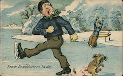 Fräst Frankfurters To-Day -- Ice skater skates over puppy dog's tail Postcard