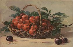 Cherries in a Brown Basket