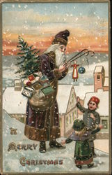 A Merry Christmas - Santa in Purple Postcard