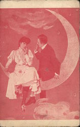 A Couple Sitting Together on the Crescent Moon
