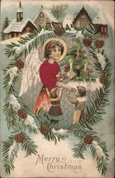 Merry Christmas - Angel with children.