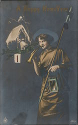 A Happy New-Year -- Woman with Horn, Lantern, and Pike.