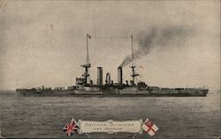"Britain's Bulwarks H.M.S. ""Swiftsure"" One of two purchased from Chili in 1903. The normal displacement of these ships is 11,800 tons. The overall length is 170 feet . The guns are"