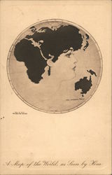 """Pictorial Comedy"" A Map of the World, as Seen by Him World map in circular frame with woman's face in profile. Postcard"