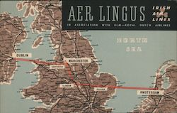 Aer Lingus Irish Air Lines Route Map Postcard
