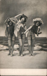 3 Women in Vintage Swimwear on the Beach