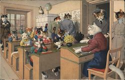 Cat Students at Desks in School with Cat Teacher & Cat Adults Watching