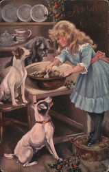 A Girl Mixing Food with Three Dogs Watching Her