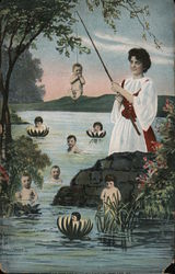 Woman Fishing for Babies in a Lake