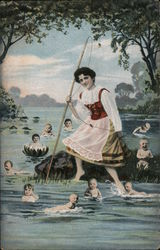 Girl Fishing for Babies in River