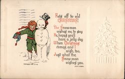 Hats off to old Christmas! -- Poem -- Child with Snowman -- Embossed Christmas Tree