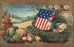 Thanksgiving Greetings -- Turkey with American Shield, harvest food, and flowers