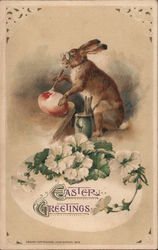 Easter Greetings -- Easter Bunny Paints an Egg