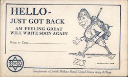 Hello - Just Got Back -- Compliments of Jewish Welfare Board Postcard