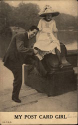 "Man and Woman Posing by Water: ""My Post Card Girl"""