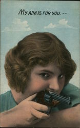 Girl Holding Gun: My Aim is for You