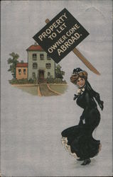 """Property to Let, Owner Gone Abroad"" with a Woman walking toward the property Postcard"