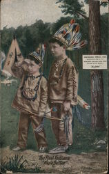 "Two Boys Playing ""The Real Indians"" Postcard"