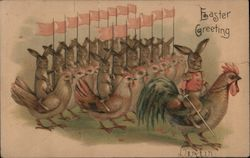 Bunnies and Chickens In Formation: Easter Greeting