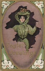 Easter Greetings -- Woman in a large Edwardian Hat Breaks out of an Egg