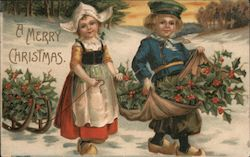 Two Children Gathering Holly for Christmas: A Merry Christmas