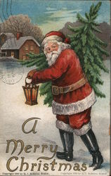 A Merry Christmas - Santa carrying a lantern and Christmas tree.