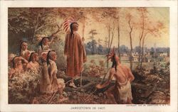 Jamestown in 1607 -- Native Americans look at settlement