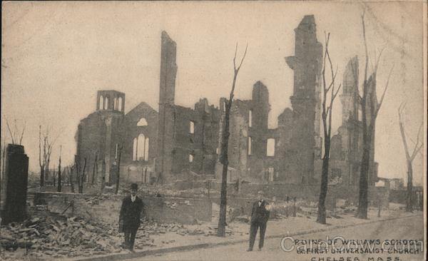 Ruins of Williams School & First Universalist Church Chelsea Massachusetts