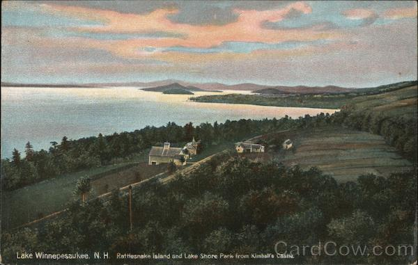 Rattlesnake Island and Lake Shore Park From Kimball's Castle Lake Winnipesaukee New Hampshire