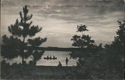 Rowing By Moonlight, Torch Lake Postcard
