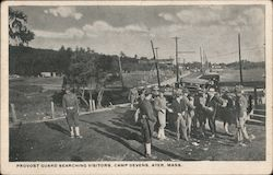 Provost Guard Searching Visitors, Camp Devens Postcard