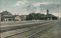 RR Station and Square Postcard