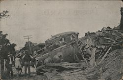 Wrecked Engine and Telescoped Coach Postcard