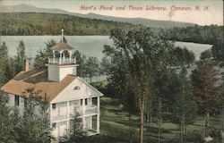 Hart's Pond and Town Library Postcard