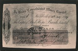 1889 DeBeers A huge fortune in figures, the largest amount ever changed hands by cheque