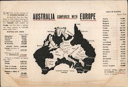 Australia compared with Europe Postcard