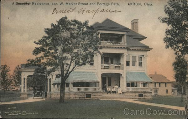 A Beautiful Residence, cor. W. Market Street and Portage Path Akron Ohio