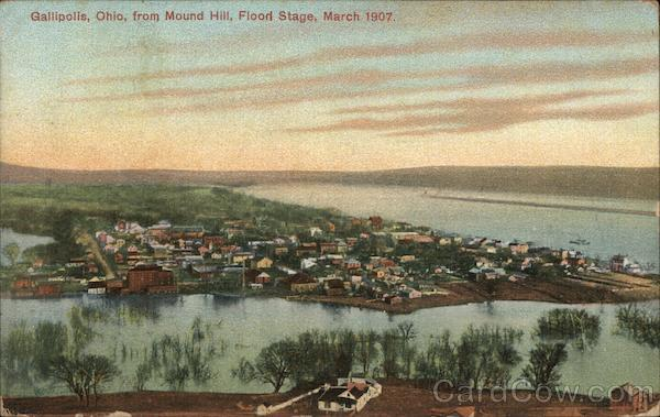 View from Mound Hill, Flood Stage, March 1907 Gallipolis Ohio
