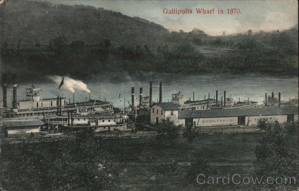 Gallipolis Wharf in 1870 Ohio