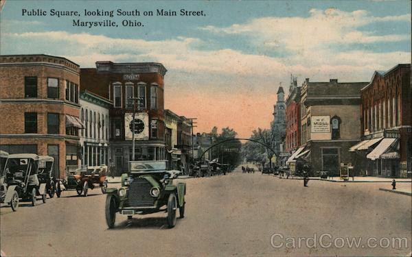 Public Square, Looking South on Main Street Marysville Ohio