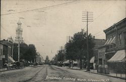 Broadway, Looking North Greenville, OH Postcard