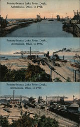 Pennsylvania Lake Front Dock Views in 1905, 1907 and 1909 Postcard