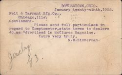 Felt & Tarrant Mfg. Co., Correspondence Card Postcard