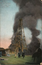Oil well burning after being shot Postcard